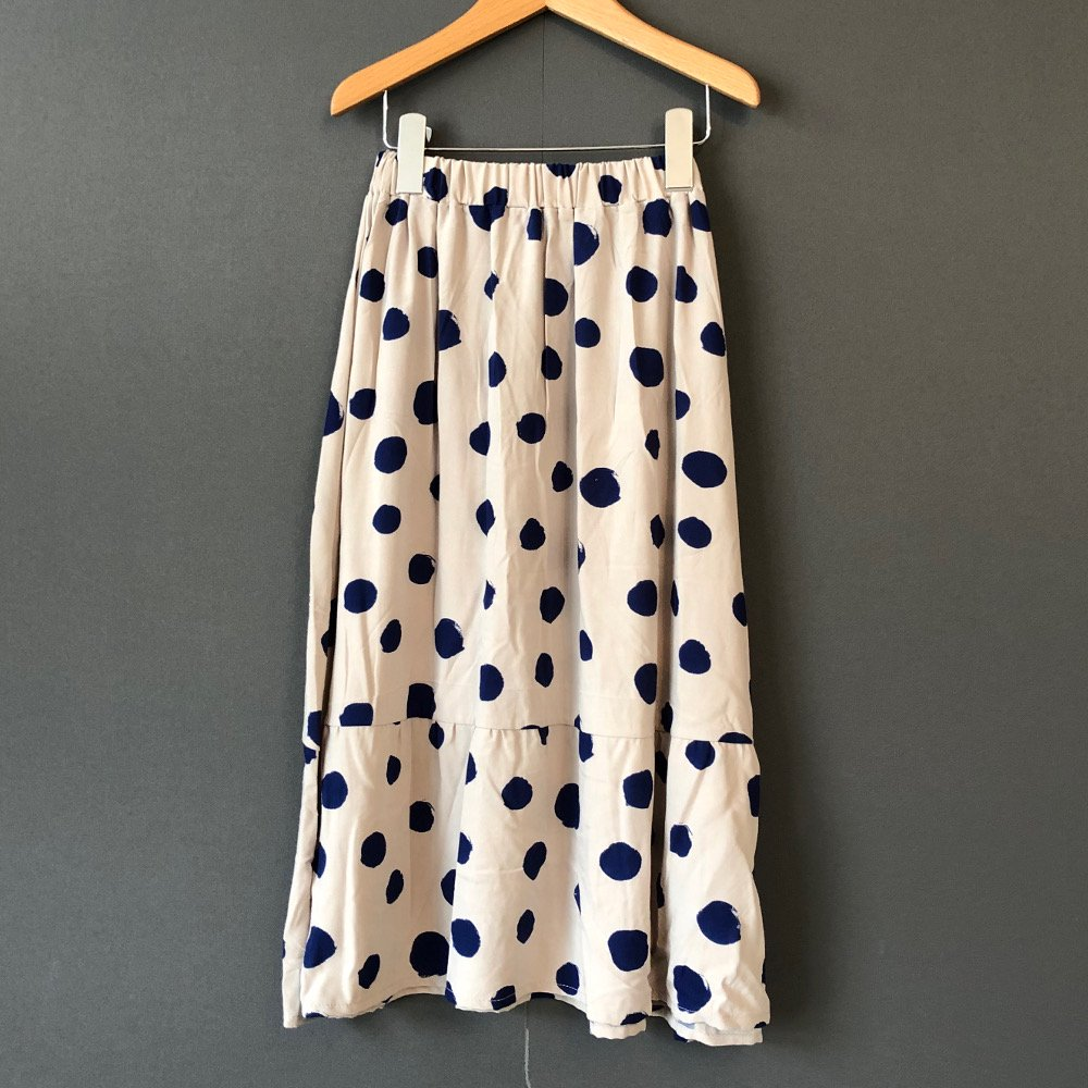 【30%OFFセール】arkakama (アルカカマ)2019AW<br>Twill RAYON LONG SKIRT<BR>ドット柄ロングスカート<BR>THIS IS a DOT