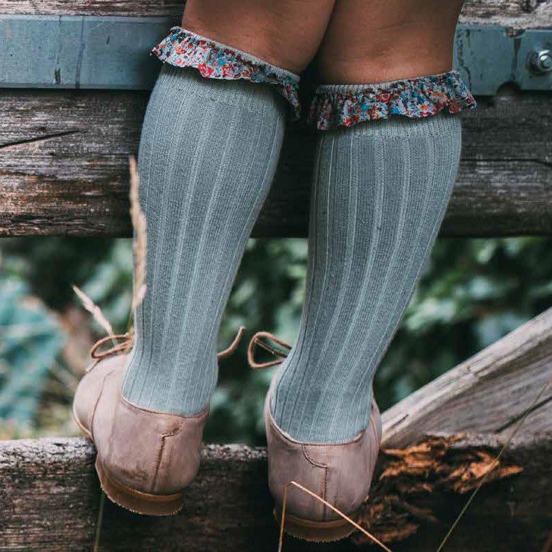 collegien(コレジアン)<br>liberty socks リバティ ロングソックス キッズ 靴下<BR>Vieux Rose
