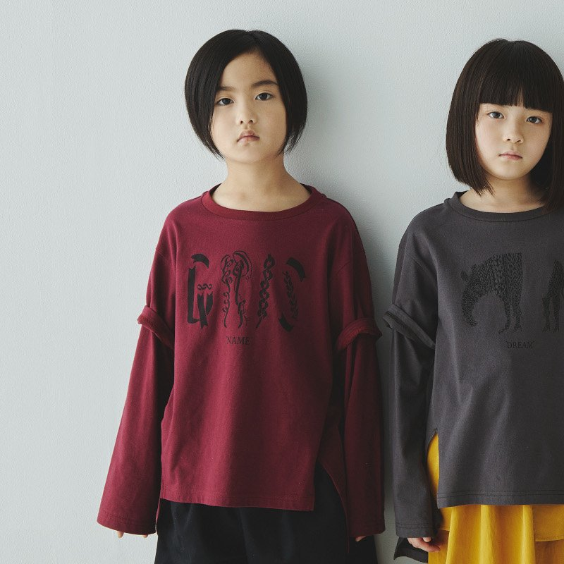 GRIS(グリ)2020aw<br>Layered Print T-shirt NAME<BR>rose<BR>レイヤードプリント長袖Tシャツ<BR>(カットソー)