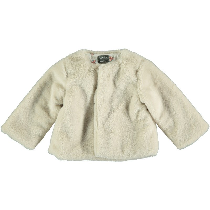tocoto vintage(トコト ヴィンテージ)2020AW<br>Faux fur baby coat with flower lining<BR>花柄裏地フェイクファーベビーコート