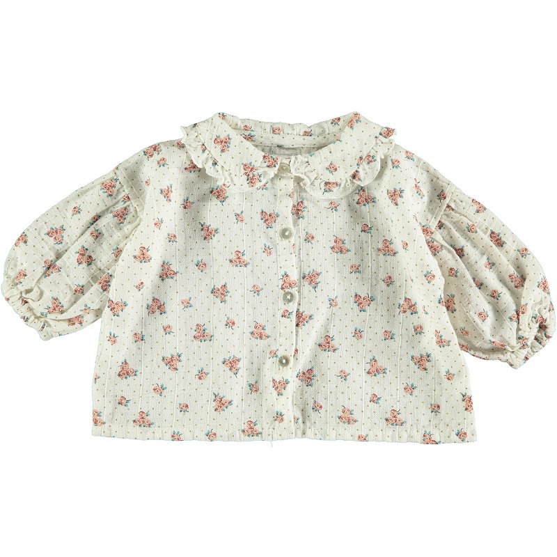 tocoto vintage(トコト ヴィンテージ)2020AW <br>Flower print blouse with puf sleeves<BR>コットン花柄ブラウス