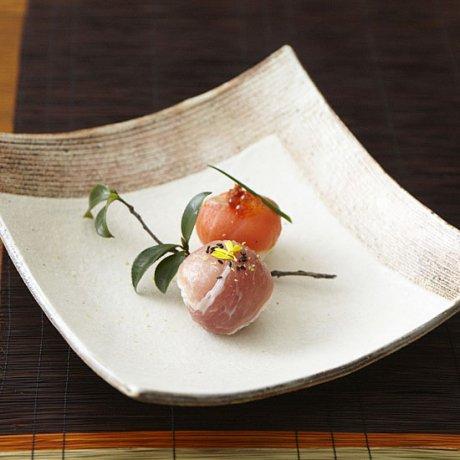 粉引L彫角皿(大)