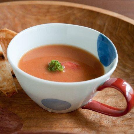 染付二色丸文スープカップ(赤・青)