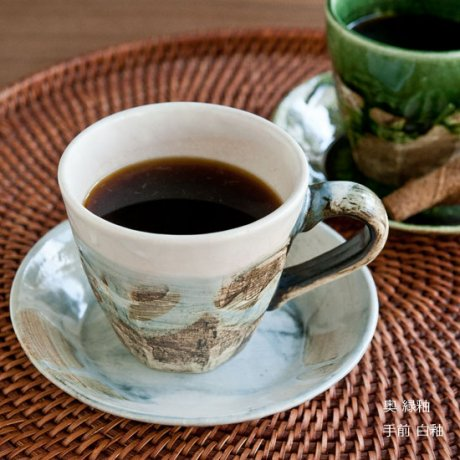 掛け分けコーヒーC&S(白釉・緑釉)