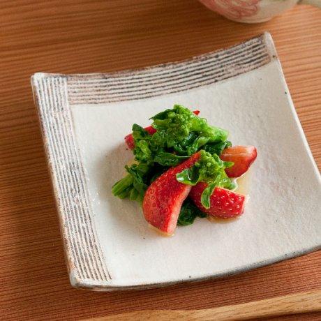 粉引L彫角皿(小)