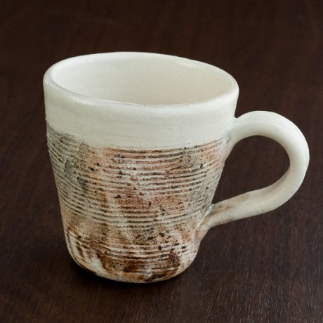 粉引横彫マグカップ