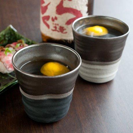 ラスター掛け分け焼酎カップ(黒・白)