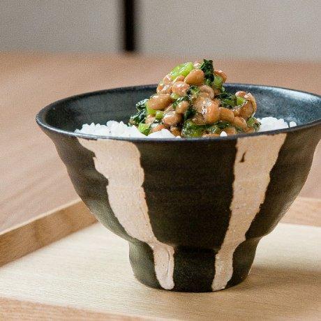 黒釉ストライプ飯碗(小)
