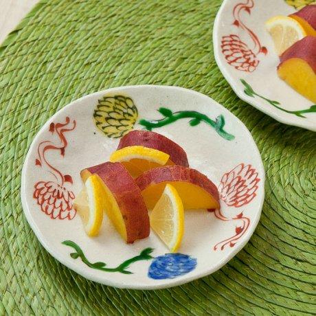 色絵立花丸小皿