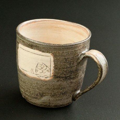 窓からネコマグカップ