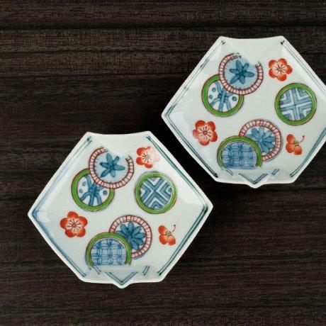 丸文折紙形手塩皿
