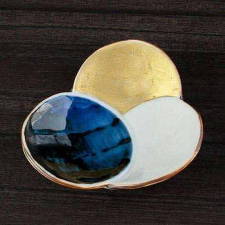 金彩古染三つ丸皿