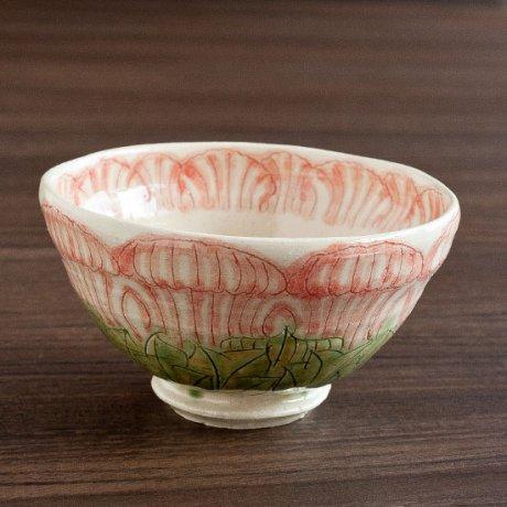 牡丹文飯碗(赤)
