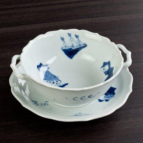 異人づくし耳付スープ碗皿(大)