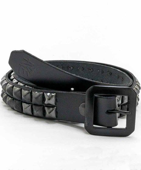 スタッズベルト メンズ 黒本革 2連 ブラックピラミッド パンクロック