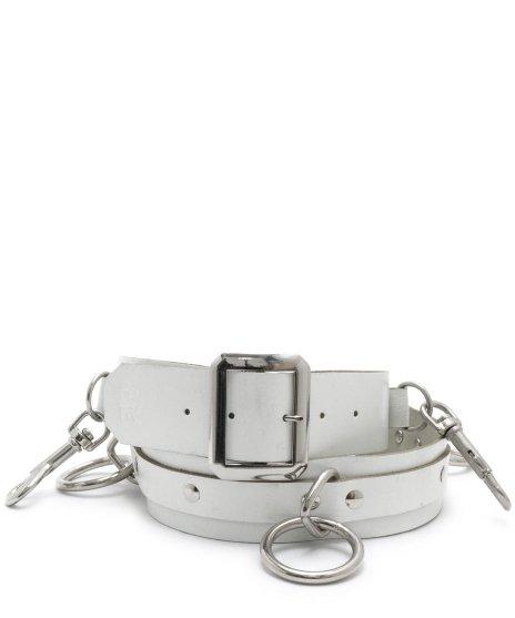ボンデージSIDベルト 5リング 本革製 白 メンズ パンクロック