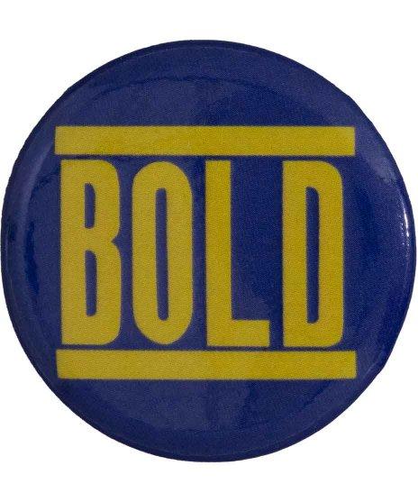 Bold バンド缶バッチ イエロー × ネイビー