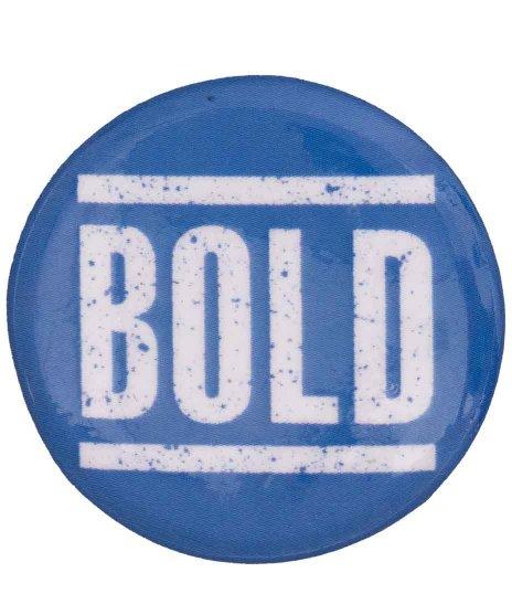 Bold バンド缶バッチ ホワイト × ブルー