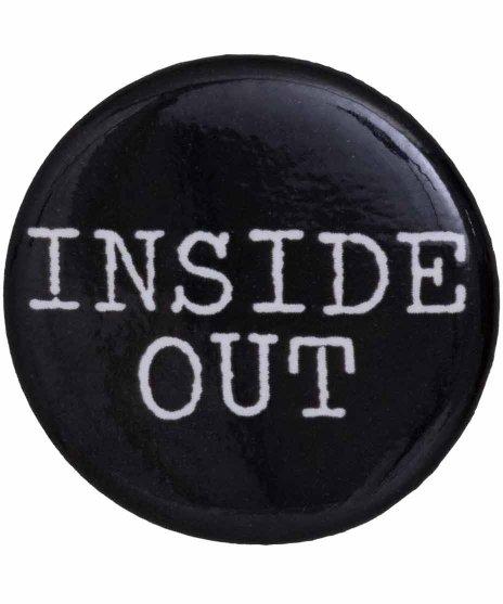 Inside Out バンドロゴ缶バッチ  ブラック×ホワイト