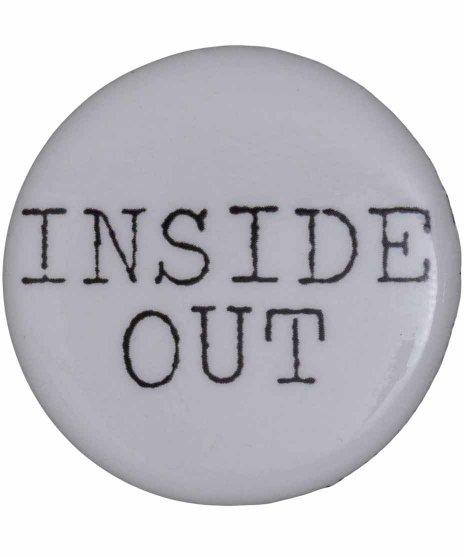Inside Out バンドロゴ缶バッチ  ホワイト×ブラック