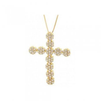 キングアイス KINGICE 14K Gold Cross CZ Flower Cluster Necklace ACCESSORIES アクセサリー