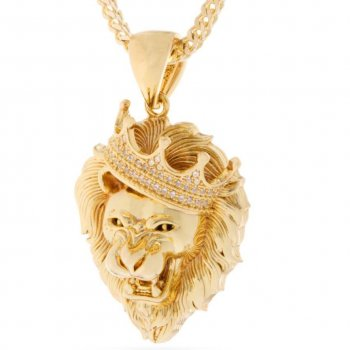 キングアイス KINGICE King Ice 14K Gold Roaring CZ Lion Necklace GOLD ACCESSORIES アクセサリー