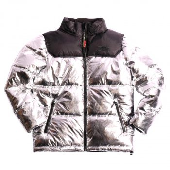 スモークライズ SMOKE RISE NYLON COLOR BLOCK BUBBLE JACKET ジャケット SILVER シルバー JACKET 2XLサイズ