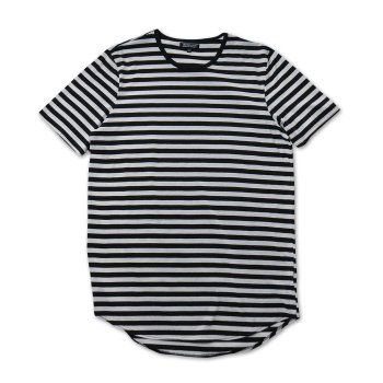 エルウッド ELWOOD Black/White Striped Curved Hem Tall Tee Tシャツ BLACK/WHITE ブラック/ホワイト T-SHIRTS Mサイズ