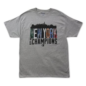 チャンピオン CHAMPION NY CITY OF CHAMPS OXF TEE Tシャツ GREY グレー S/S T-SHIRTS Lサイズ