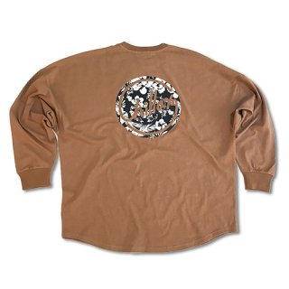 Chillax Botanical Circle Logo Over size Long T (Beige)