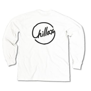Chillax Circle Logo  Pocket Long T (White)