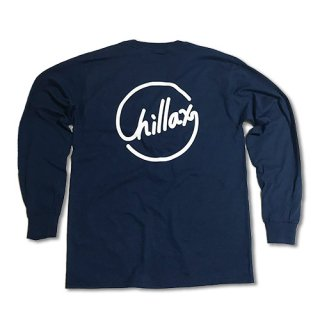 Chillax Circle Logo  Pocket Long T (Navy)