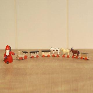 【クリスマス】汽車と動物を引っぱるサンタ