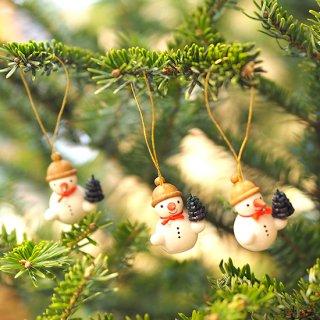 【クリスマス】オーナメント モミの木を持つプチスノーマン3個セット