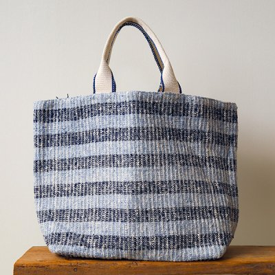 Suno&Morrison(スノアンドモリソン) Gara-bou×Canvas Large Tote(Indigo Border)