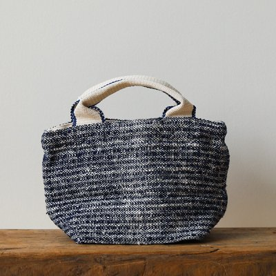 Suno&Morrison Gara-bou×Canvas Small Tote (Indigo)