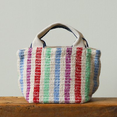 Suno&Morrison Gara-bou×Canvas Small Tote(RainbowStripe)