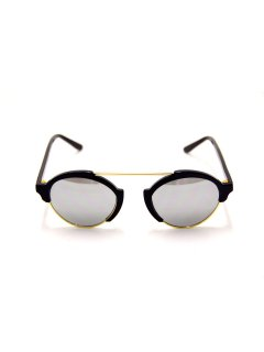 illesteva / MILAN 3 BLACK/SILVER MIRRORED LENSES