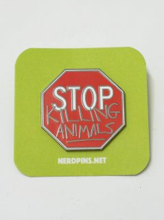 NERDPINS/ VEGAN STOP SIGN PIN