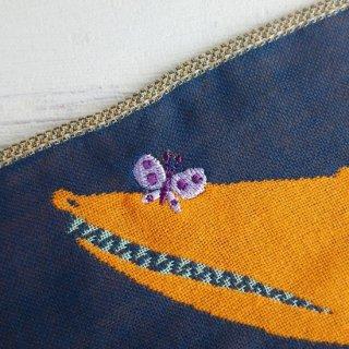 ワニと蝶々/挿絵画家morita MiWと楠橋紋織のコラボブランド/ 3重織りガーゼハンカチ
