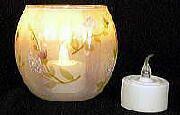 ガラス工芸/キャンドル LEDキャンドル (風センサ-付)+手作り ガラスホルダー・シリーズ 花模様