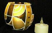 ガラス工芸/キャンドル LEDキャンドル (風センサ-付)+手作り ガラスホルダー・シリーズ 幾何学
