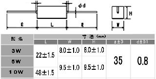 セメント固定巻線抵抗5W(抵抗値E24系列:1Ω〜9.1Ω・±5%)