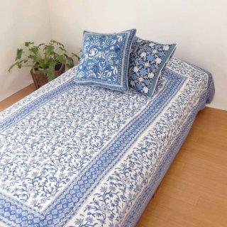 シングルベッドカバー シルクコットン ブルー