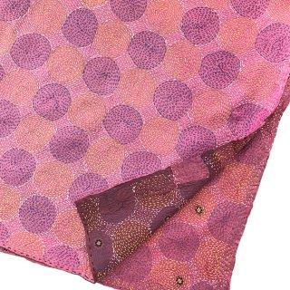 カンタ(刺し子刺繍)リバーシブルストール 大判 ピンク×モーヴ