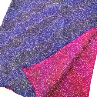 カンタ(刺し子刺繍)リバーシブルストール 大判 ブルー×ピンク