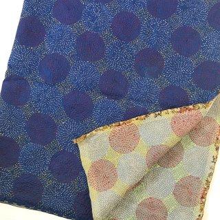 カンタ(刺し子刺繍)リバーシブルストール 大判 ブルー×ライトカラー