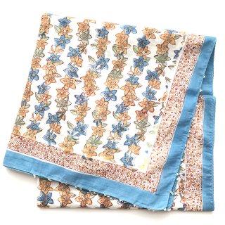 Soma 大判ストール 白×ブルーベージュ花柄 110cm x 185cm