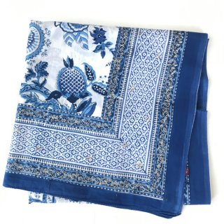 ANOKHI 大判ストール ブルー×白 120cm x 190cm