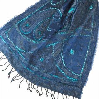ウール手刺繍ショール ブルーB 大判